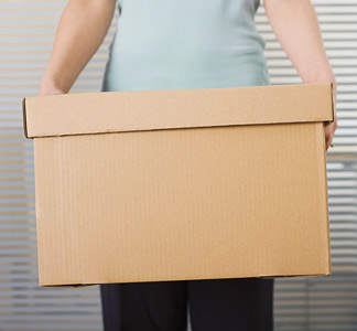 Woman holding a box